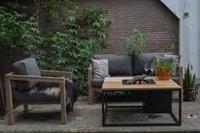 Cosi Fires loungetafel/vuurtafel Cosiloft black/teak, afm. 100 x 100 x 47 cm-2
