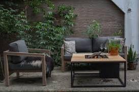 Cosi Fires loungetafel/vuurtafel Cosiloft white/teak, afm. 100 x 100 x 47 cm