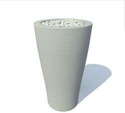 Vondom kunststof bloempot Curvada. diam. 45 cm, hoogte 85 cm, steel grey