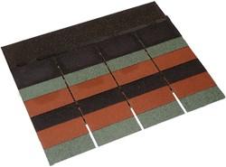 Dakshingles, per 3 m2, leverbaar in groen, grijs, rood of zwart