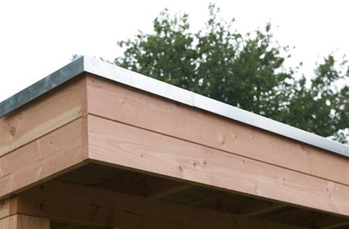Daktrim voor douglas overkapping plat dak met afmeting 605 x 450 cm, aluminium