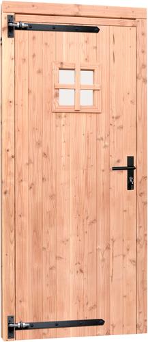 Douglas enkele deur incl. kozijn, met zwart beslag, afm. 90 x 201 cm.