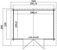 Blokhut Dinkel, buitenmaat 312 x 250 cm, funderingsmaat 292 x 230 cm, zadeldak, houtdikte 28 mm, blank vuren