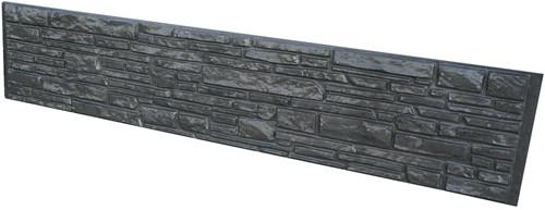 betonplaat voor schutting, afm. 184x36 cm, dubbelzijdig donau motief, antraciet