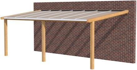 Hillhout douglas veranda Excellent 700, afm. 728 x 400 cm, opaal dakplaat-1