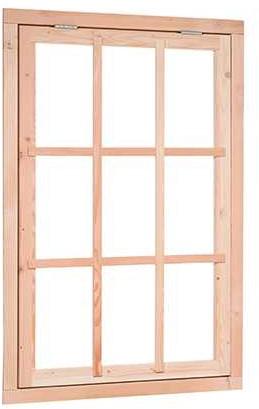 UItzetraam 9-ruits, buitenmaat 91 x 136 cm, douglas