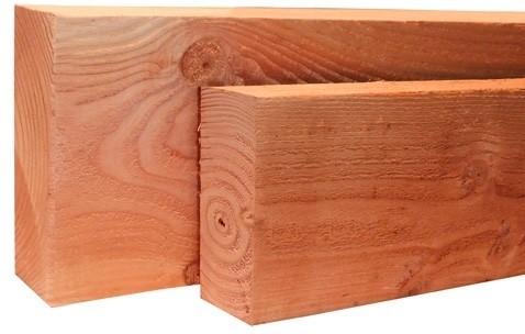 lariks/douglas balk, fijn bezaagd, afm.  4,5 x  7,5 cm, lengte 400 cm