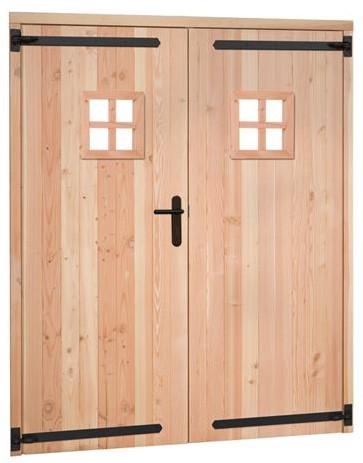 Douglas dubbele deur incl. kozijn, met zwart beslag, afm. 168 x 201 cm.