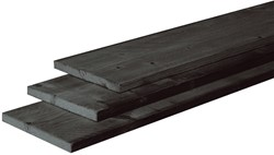 douglas plank, fijn bezaagd, afm.  2,2 x 20,0 cm, lengte 300 cm, zwart