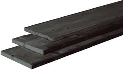 douglas plank, fijn bezaagd, afm.  2,2 x 20,0 cm, lengte 400 cm, zwart