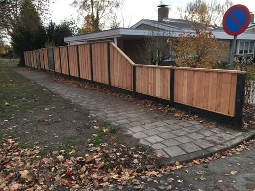 hout/betonschutting 12x12, douglas dichtscherm, douglas deksloof, wit beton, per 0,96 m-3