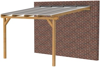 Douglas veranda, afm. 400 x 350 cm, opaal dakplaat