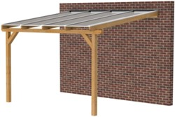 Douglas veranda, afm. 400 x 400 cm, heldere dakplaat