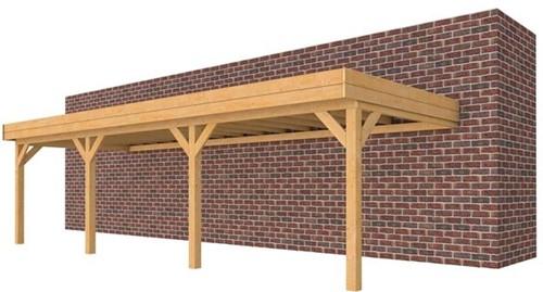 Carport voor muuraanbouw, afm. 900 x 320 cm, funderingsmaat 892 x 293 cm, douglas