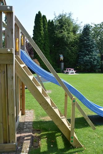 Woodvision trap met 1  leuning,  passend op Jungle Gym speeltoestellen met een platform van 150 cm-2