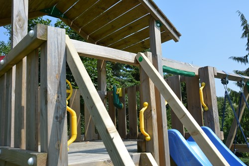 Woodvision extra leuning, passend op een Jungle Gym  trap
