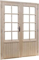 Deur 8-ruits, dubbel, buitenmaat 169 x 201,5 cm, vurenhout