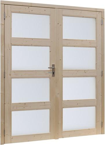 Deur 4-ruits melkglas, dubbel, buitenmaat 169  x 201,5 cm, vurenhout
