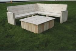 Loungeset Toronto, hoekbank 200 x 200 cm met tafel en kussens, FSC grenen
