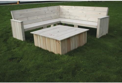 Loungeset Toronto, hoekbank 200 x 200 cm met tafel en kussens, FSC grenen, showmodel