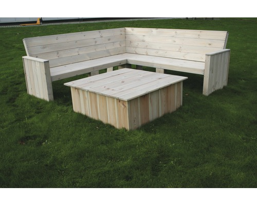 SenS-Line Loungeset Toronto, hoekbank 200 x 200 cm met tafel, FSC grenen, showmodel