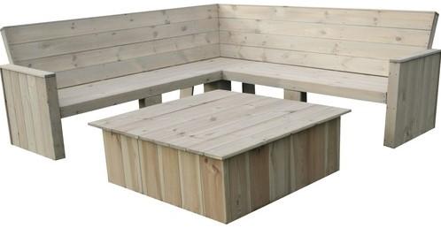 Toronto loungeset, hoekbank 200 x 200 cm met tafel, FSC grenen-2
