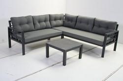 Loungeset Elba, hoekbank 211 x 211 cm met tafel, aluminium