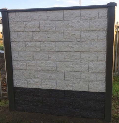 betonplaat voor schutting, afm. 184x36 cm, dubbelzijdig elbe motief, wit-2