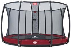 BERG inground trampoline Elite+ rood, veiligheidsnet T-series, diam. 380 cm.