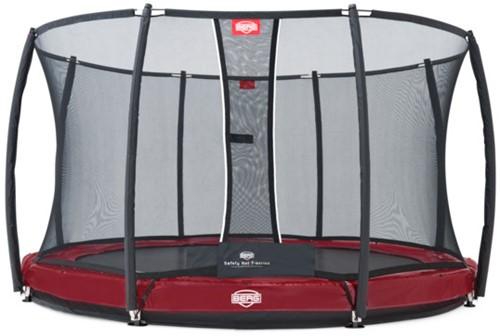 BERG inground trampoline Elite+ rood, veiligheidsnet T-series, diam. 430 cm.