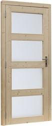 Deur 4-ruits melkglas, enkel,  buitenmaat 91 x 201,5 cm, vurenhout