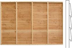 Wand A, enkelzijdig Zweeds rabat, voor kapschuur, afm. 278 x189 cm, douglas hout