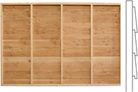 Wand F met enkele deur, enkelzijdig Zweeds rabat, afm. 278 x 294 cm, douglas hout