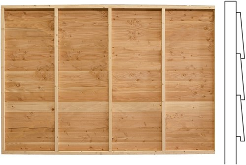 Wand C, enkelzijdig Zweeds rabat, afm. 278 x 234 cm, douglas hout