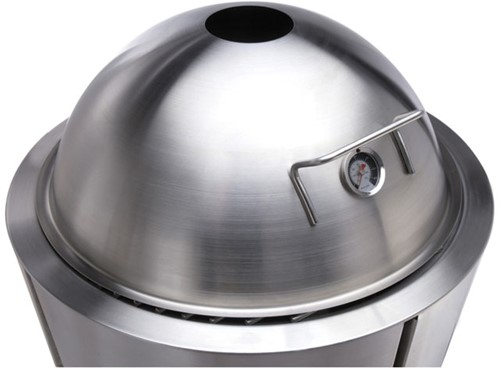 Eva Solo deksel voor houtskoolbarbecue met thermometer, diameter 59 cm, rvs