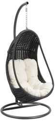 Funny hangstoel, diam. 97 cm, hoogte 196 cm, zwartkleurig frame, ecru kussen