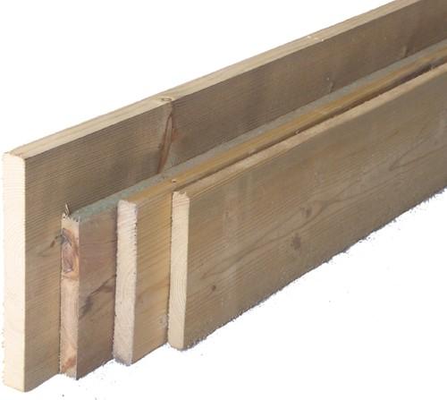 geïmpregneerd geschaafde grenen plank, afm. 2,0 x 20,0 cm, lengte circa 174 - 180 cm, zonder vellingkant, B-keus