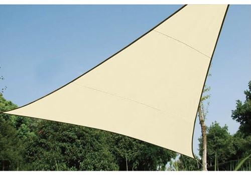 zonnezeil, driehoek, afmeting 5 x 5 x 5 m, beige
