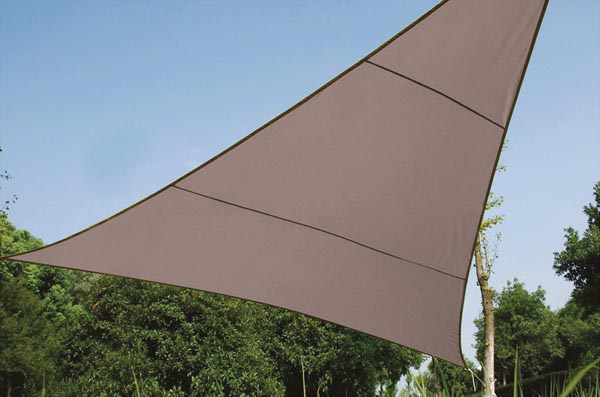 Perel zonnezeil, driehoek, afmeting 5 x 5 x 5 m, taupe