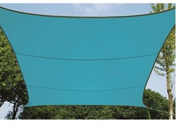 zonnezeil, vierkant, afmeting 3,6 x 3,6 m, blauw