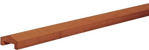 Afdekkap met dakje, afm.  3,5 x  8,5 cm, lengte180 cm, hardhout