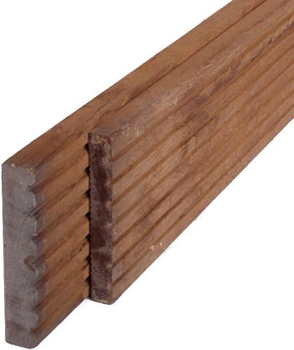 hardhouten geprofileerd dekdeel, afm.  2,5 x 14,5 cm, berekeningsmaat* lengte 370 cm
