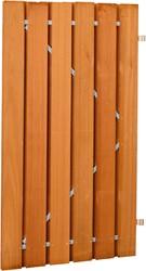 Plankendeur, om en om, op stalen frame, afm. 100 x 190 cm, hardhout