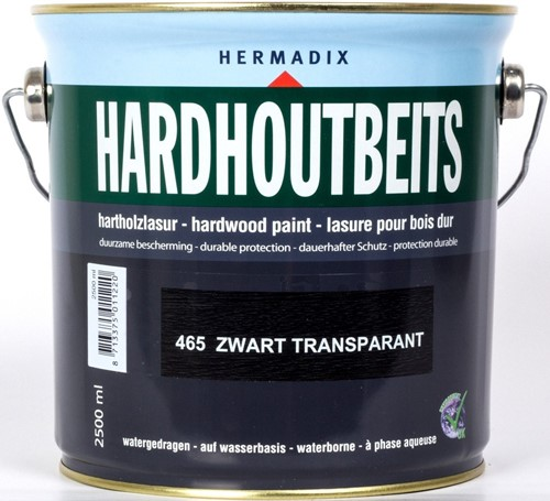 Hermadix hardhoutbeits, transparant, nr. 465 zwart, blik 2,5 liter