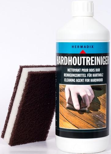 Hermadix hardhoutreiniger, fles1 liter, inclusief schuurspons-1