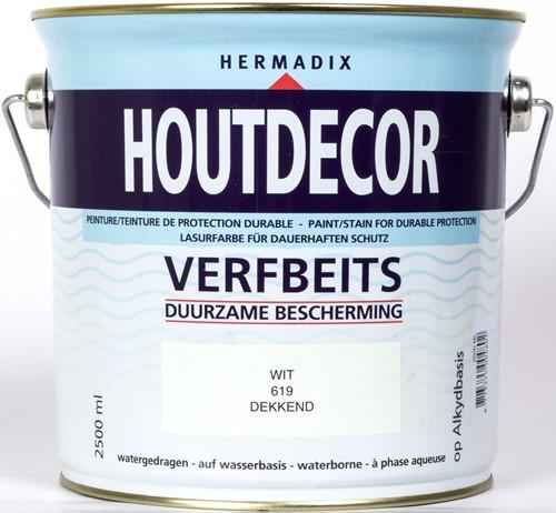Hermadix houtdecor verfbeits, dekkend, nr. 619 wit, blik 2,5 liter