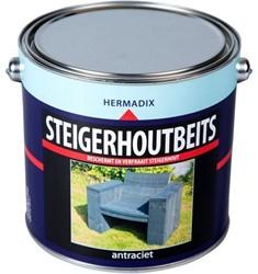 Hermadix steigerhoutbeits, transparant, antraciet, blik 2,5 liter