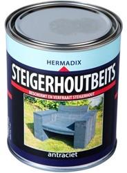 Hermadix steigerhoutbeits, transparant, antraciet, blik 0,75 liter