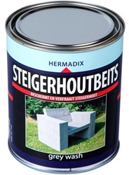 Hermadix steigerhoutbeits, transparant, grey wash, blik 0,75 liter