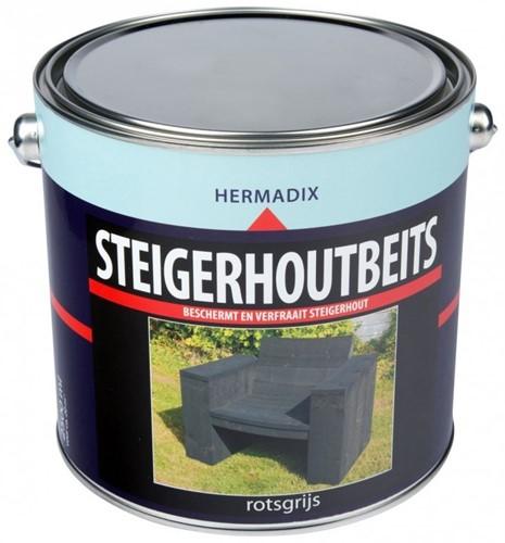 Hermadix steigerhoutbeits, transparant, rotsgrijs, blik 2,5 liter